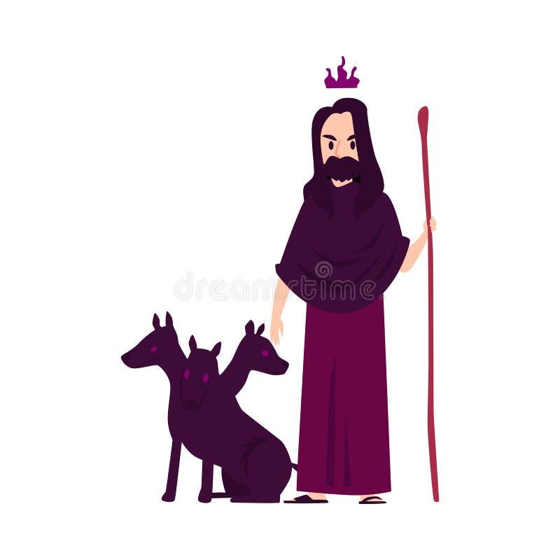 Человек или бог Hades греческий стоят с трехглавым стилем мультфильма штата удерживания собаки бесплатная иллюстрация