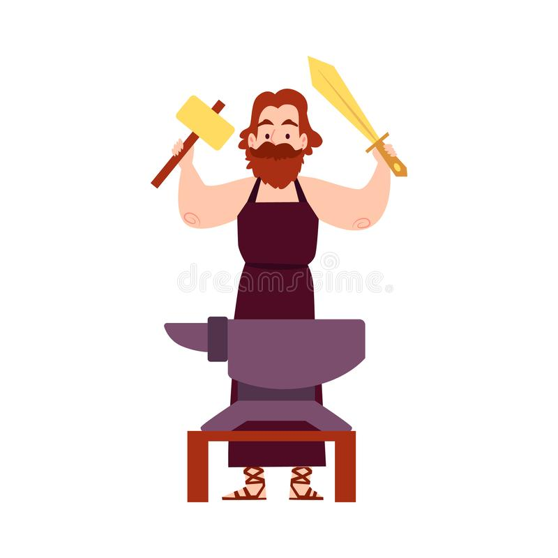 Человек или бог Hephaestus греческий стоят на наковальне со стилем мультфильма молотка и шпаги иллюстрация штока