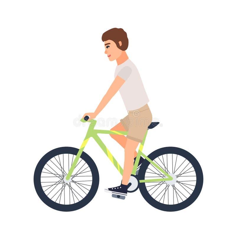 Человек или мальчик одели в велосипеде катания вскользь одежды Футболка и шорты плоского мужского персонажа из мультфильма нося н иллюстрация вектора