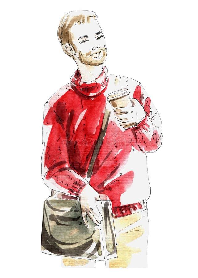Человек иллюстрации акварели с объектом кофе и сумки красочным изолир бесплатная иллюстрация