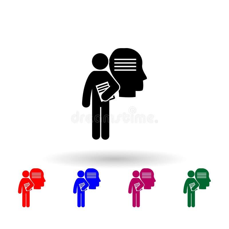 человек, имеющий степень философии, многоцветный значок простой глиф, плоская иконка студенческой степени для ui и ux, веб-сайта  иллюстрация вектора