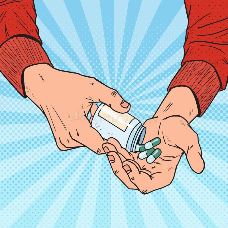 Человек искусства шипучки держа бутылку с медицинскими лекарствами Мужские руки с пилюльками Фармацевтическое дополнение иллюстрация штока