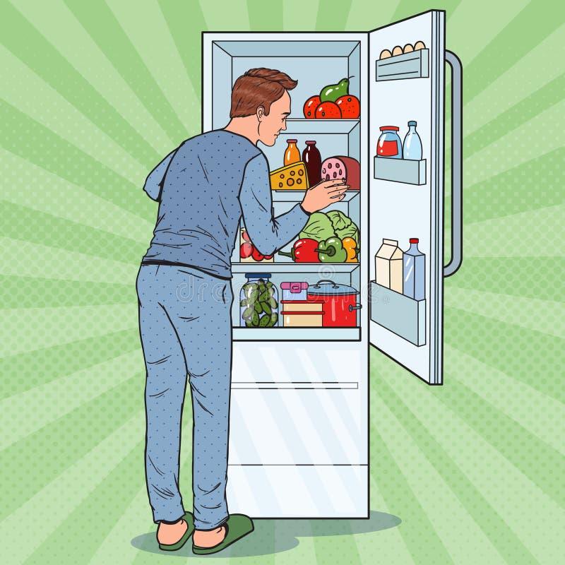 Человек искусства шипучки счастливый смотря внутренний холодильник вполне еды Холодильник с молочными продучтами иллюстрация штока