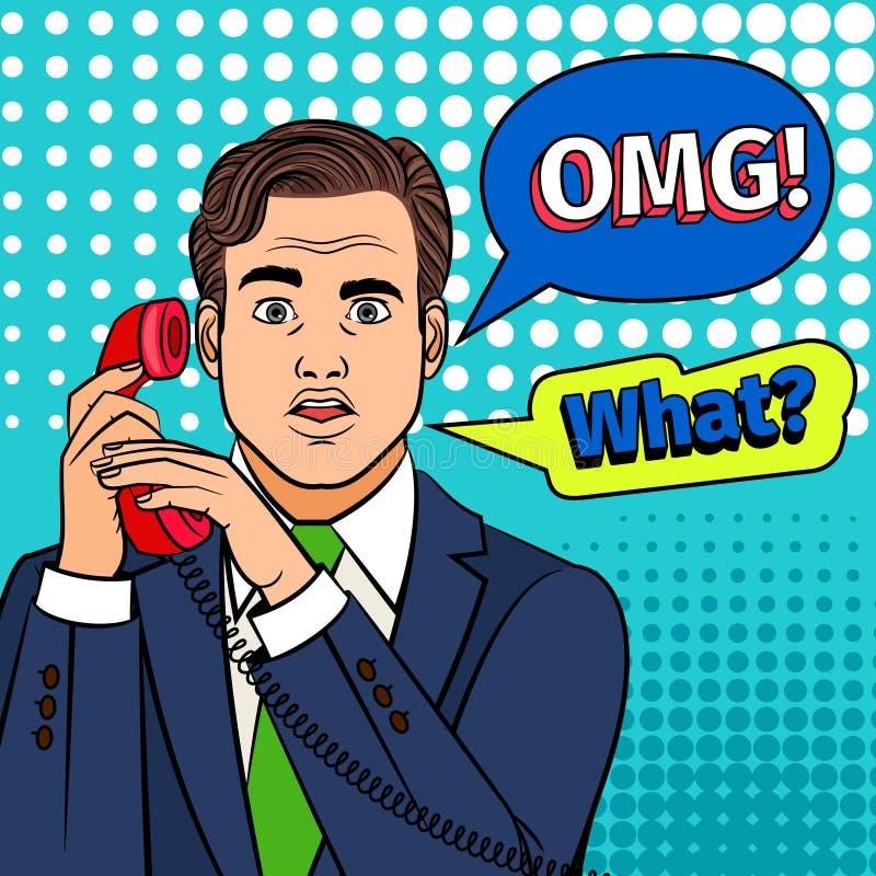 Человек искусства шипучки удивленный с телефоном иллюстрация вектора