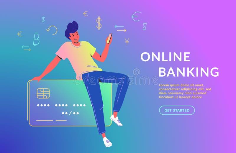 Человек используя мобильное приложение для онлайн-банкингов Иллюстрация вектора концепции маленькой девочки сидя на большой креди бесплатная иллюстрация