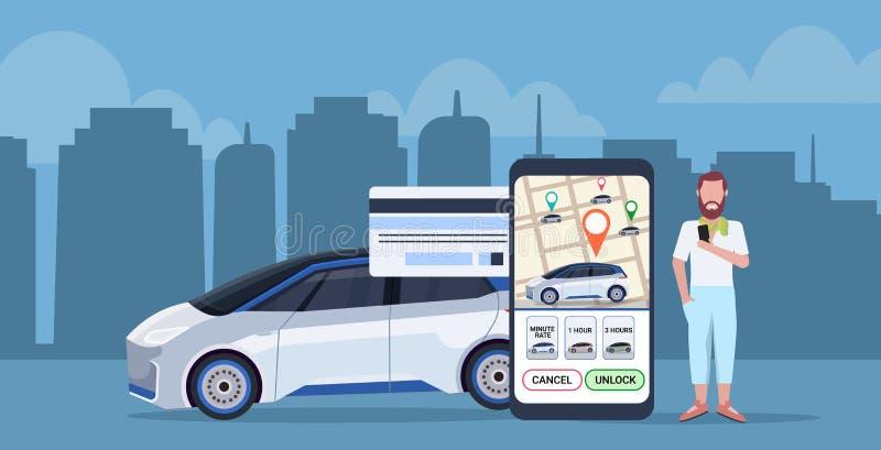 Человек используя оплачивать мобильного применения онлайн для экрана смартфона концепции публикации автомобиля такси с транспорто бесплатная иллюстрация