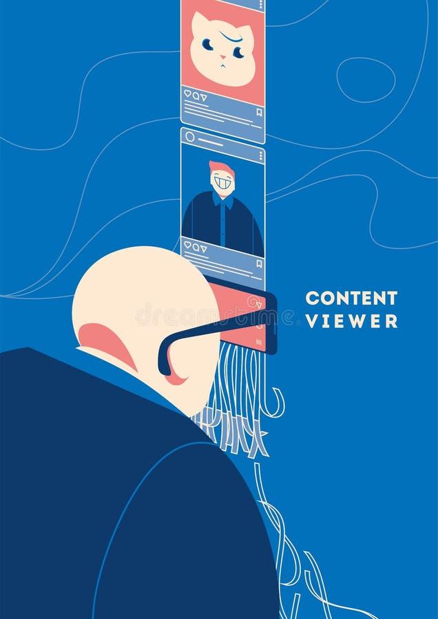 Человек используя смартфон как стекла для просмотра питания блога в социальных средствах массовой информации иллюстрация штока