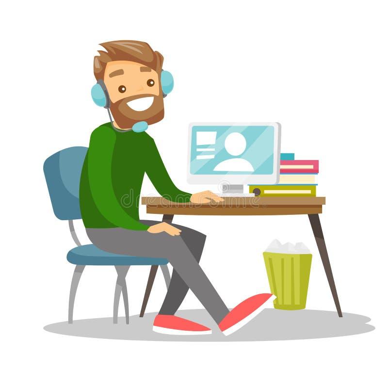 Человек используя шлемофон и компьютер в центре телефонного обслуживания бесплатная иллюстрация