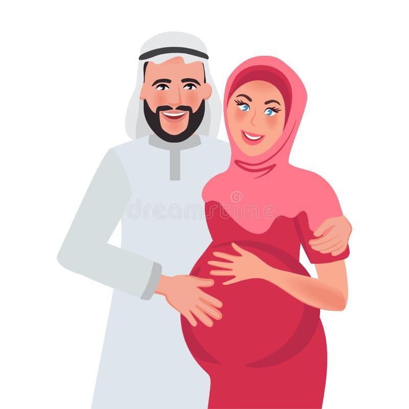 Человек и беременная женщина арабской национальности и радоваться Отношение семьи r также вектор иллюстрации притяжки corel иллюстрация штока