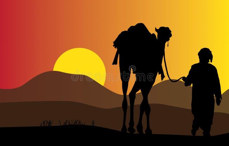 Человек и верблюд иллюстрация вектора