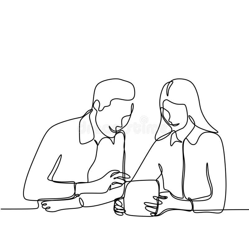 Человек и девушка делая работу и обсуждение для проекта Одна непрерывная линия иллюстрация чертежа человека 2 в офисе для иллюстрация вектора