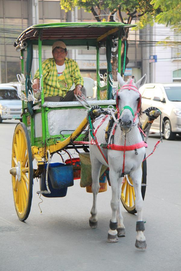 Человек и его лошадь кочуя город стоковые фотографии rf