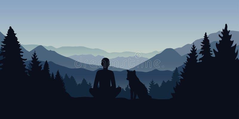 Человек и его собака смотрят в расстояние на ландшафте горы иллюстрация штока