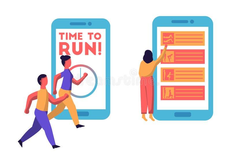 Человек и женщина бежать с гигантским смартфоном на заднем плане говоря время побежать Планируя деятельности при спорта онлайн иллюстрация вектора