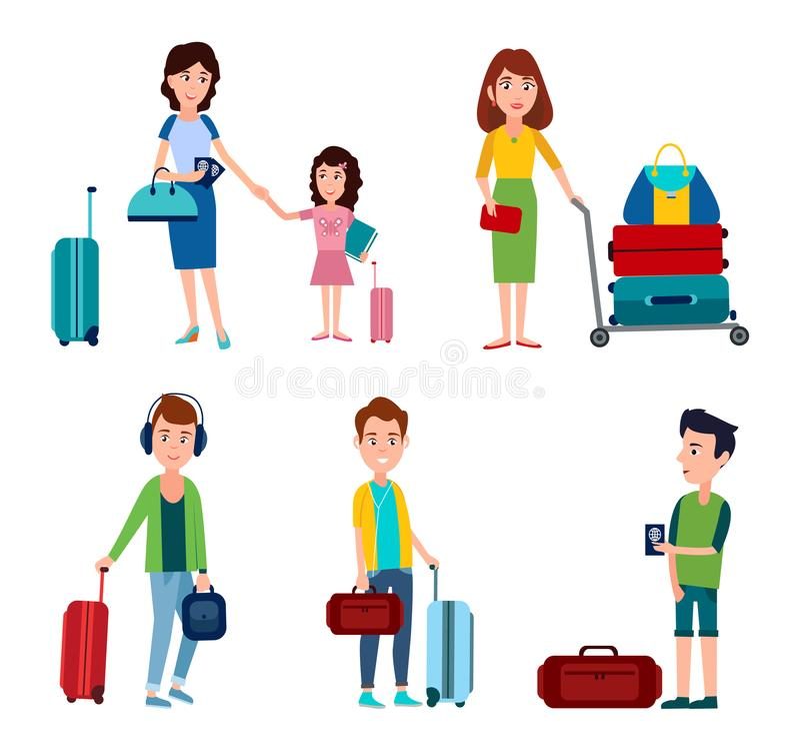Человек и женщина в авиапорте, иллюстрации вектора бесплатная иллюстрация