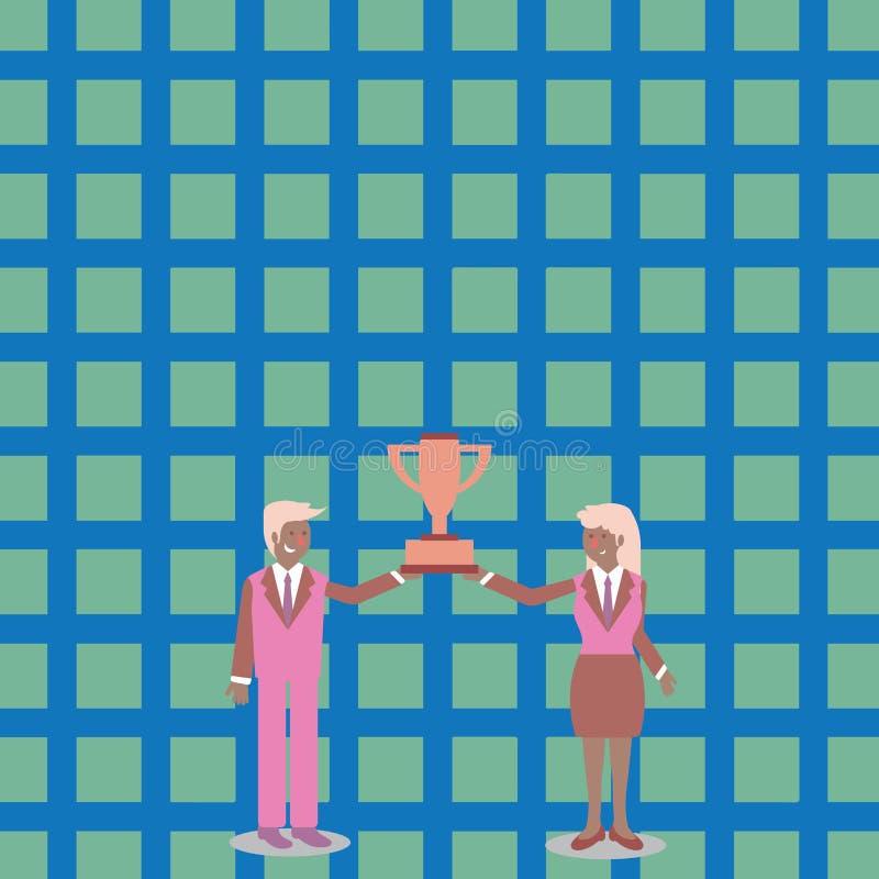 Человек и женщина в деловом костюме держа совместно чашку трофея победителей чемпионата между ими предпосылка творческая бесплатная иллюстрация