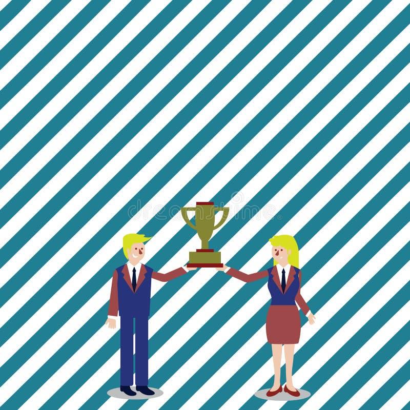 Человек и женщина в деловом костюме держа совместно чашку трофея победителей чемпионата между ими предпосылка творческая иллюстрация штока