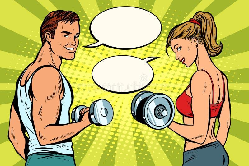 Человек и женщина в спортзале с гантелями иллюстрация вектора