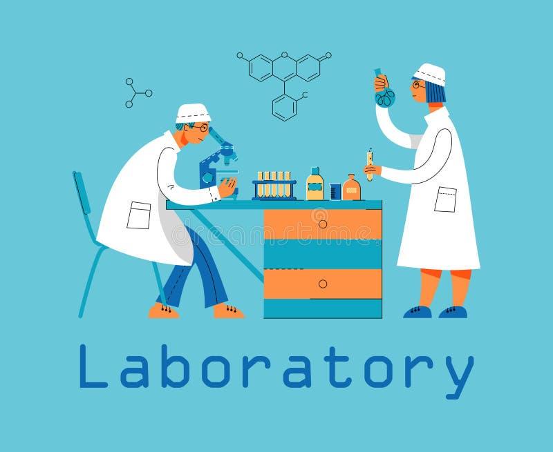Человек и женщина в форме работают в лаборатории Химическая и биологическая лаборатория бесплатная иллюстрация
