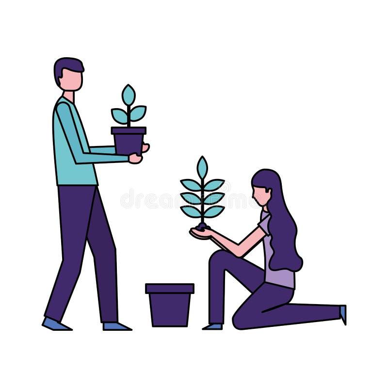 Человек и женщина держа в горшке заводы иллюстрация вектора