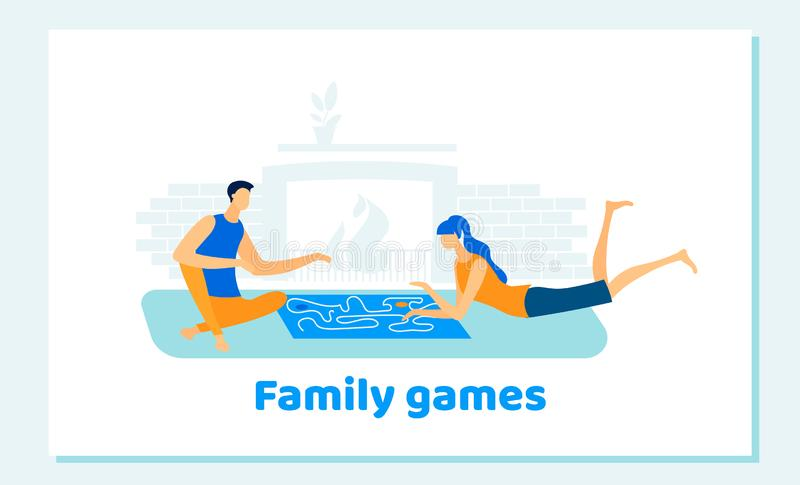 Человек и женщина играя настольные игры семьи дома иллюстрация вектора