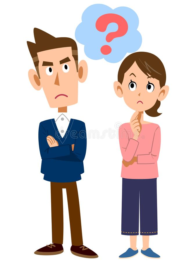 Человек и женщина который чувствуют сомнения иллюстрация штока