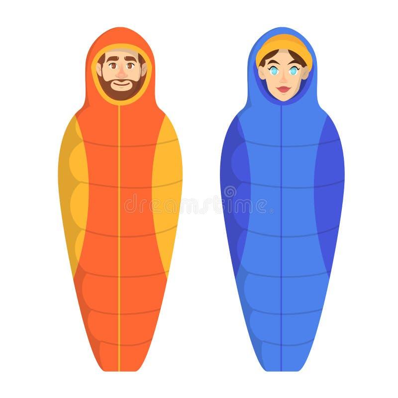 Человек и женщина лежа в спальном мешке бесплатная иллюстрация