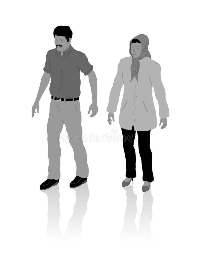 Человек и женщина националиста турецкие от Ближнего Востока с местным cl бесплатная иллюстрация