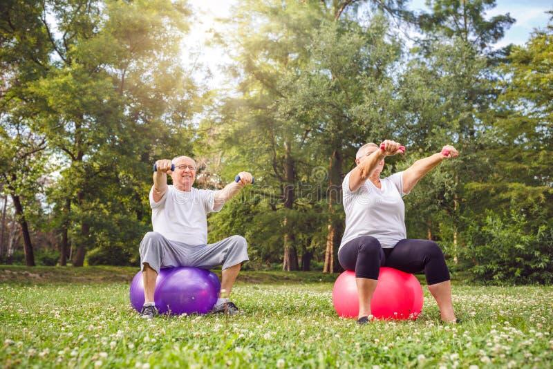 Человек и женщина пенсионера делая тренировки фитнеса на шарике фитнеса стоковое фото rf