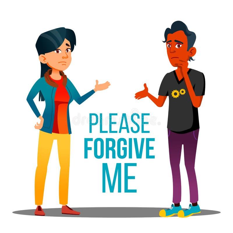 Человек и женщина спрашивая плакат мультфильма вектора прощения иллюстрация штока
