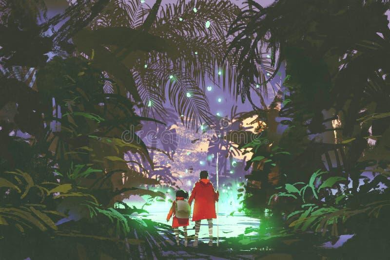 Человек и маленькая девочка смотря зеленое болото в лесе иллюстрация вектора