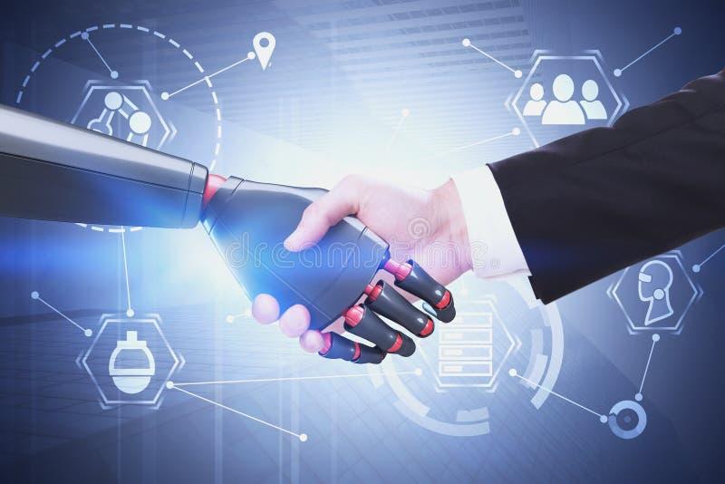 Человек и робот тряся руки, концепцию AI бесплатная иллюстрация
