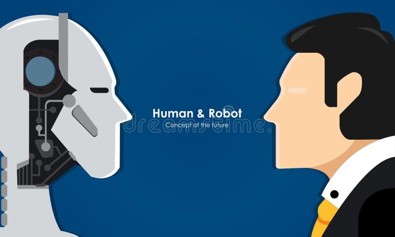 Человек и робот иллюстрация штока