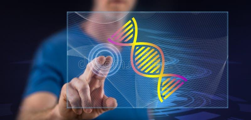 Человек касаясь концепции генетических исследований стоковые фото