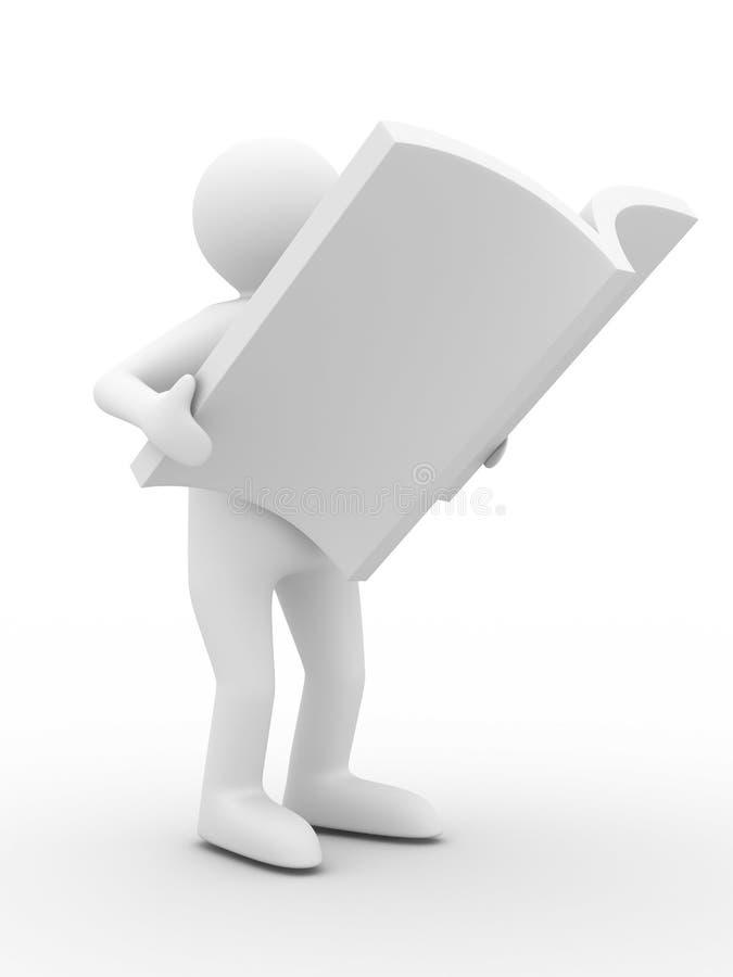 человек кассеты предпосылки читает белизну иллюстрация вектора