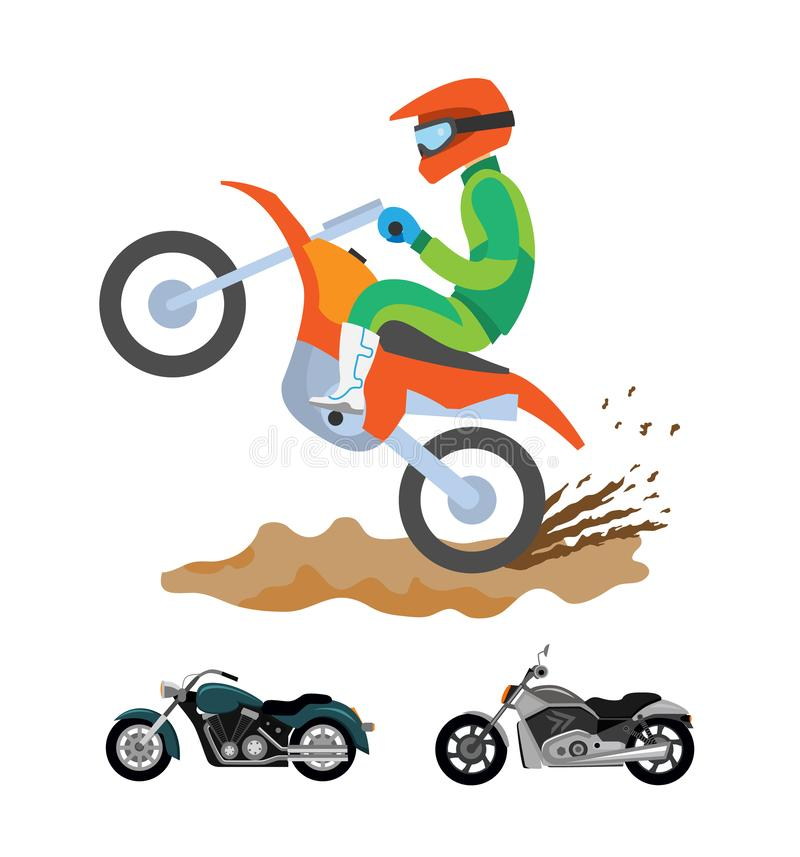 Человек катания мотоцикла на велосипеде, смолотом с грязью иллюстрация вектора