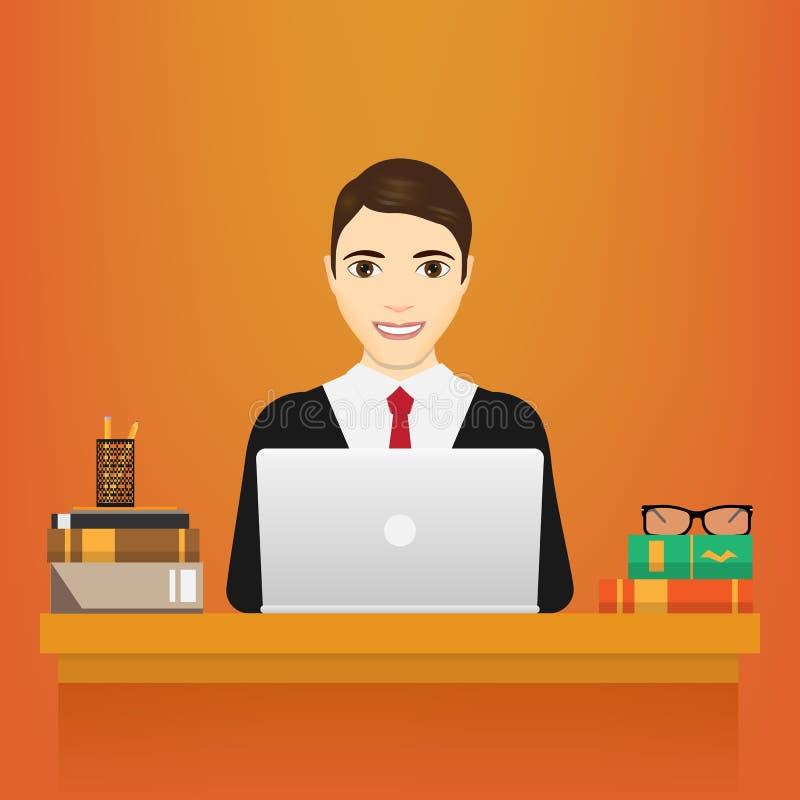 человек компьтер-книжки Бизнесмен в костюме работая на портативном компьютере на его столе офиса белизна изолированная предпосылк иллюстрация вектора