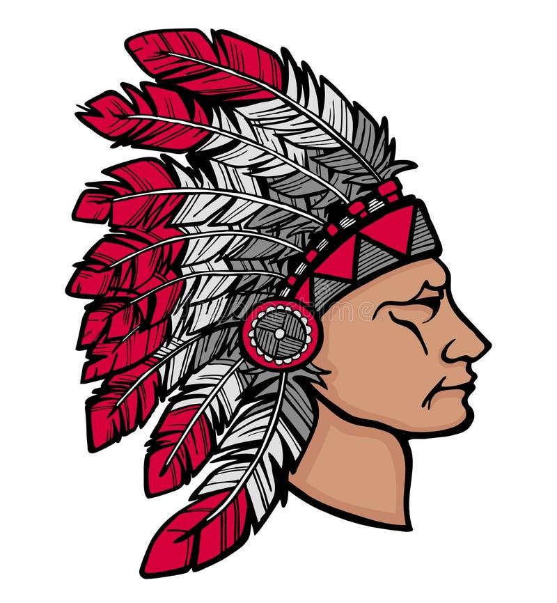Человек коренного американца в головной убор иллюстрация штока