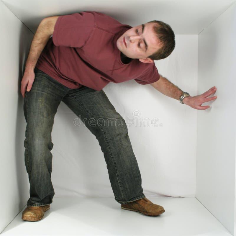человек коробки стоковое изображение