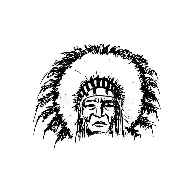Человек краснокожего стилизованного эскиза мультфильма североамериканский индийский главный, сторона, изолированная на белизне иллюстрация штока