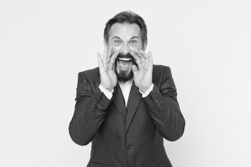 Человек крича к вам Искусство переговоров Человек пробует уговорить вас во что-то Зрелый харизматический диктор попробовать к стоковое изображение rf