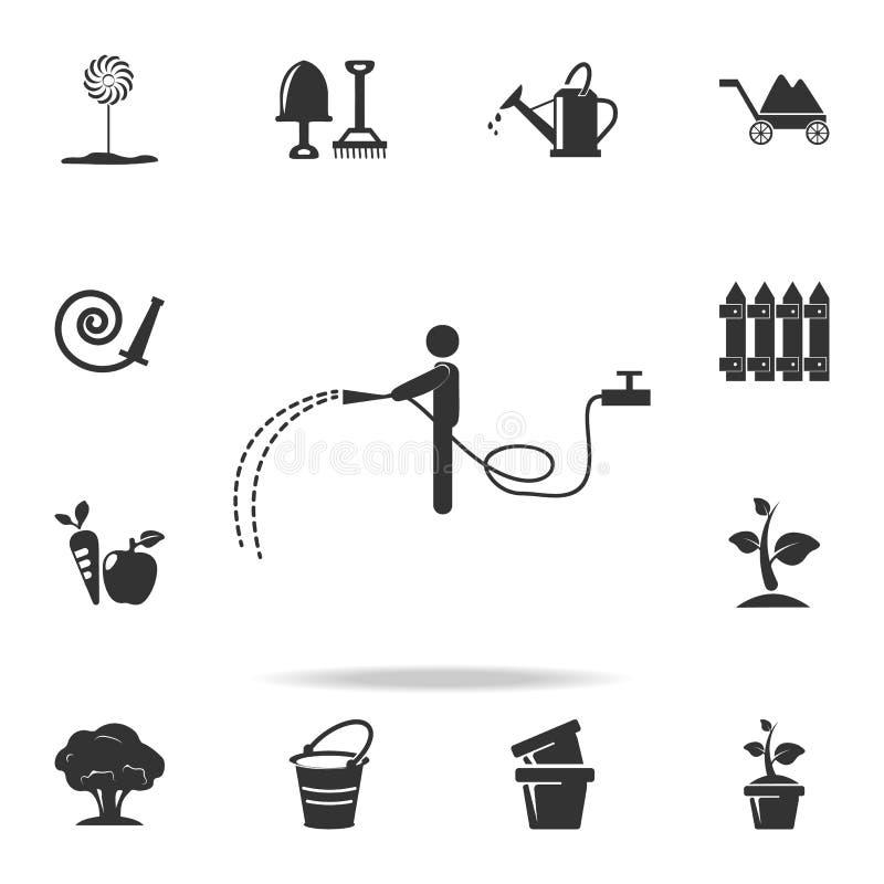 человек льет от значка шланга Детальный комплект садовых инструментов и значков земледелия Наградной качественный графический диз иллюстрация штока