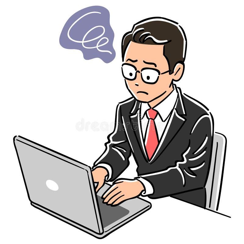 Человек менеджера который приводится в действие ноутбук иллюстрация вектора
