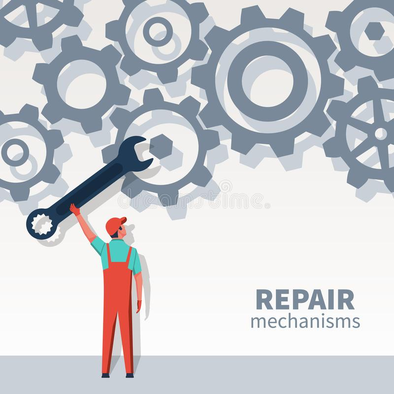 Человек механизмов ремонта иллюстрация вектора