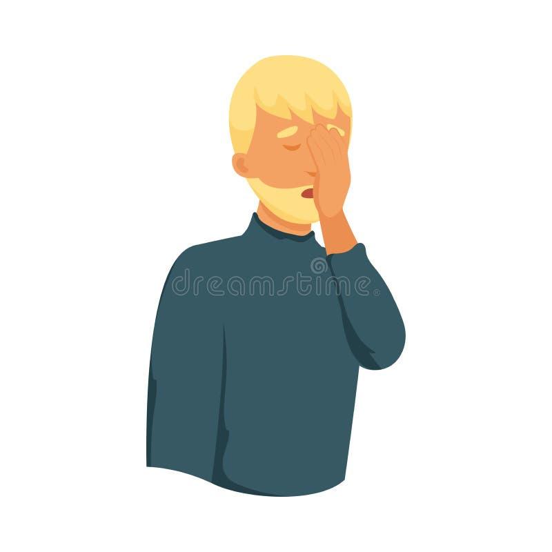 Человек милых светлых волос уставший очень грустен иллюстрация вектора