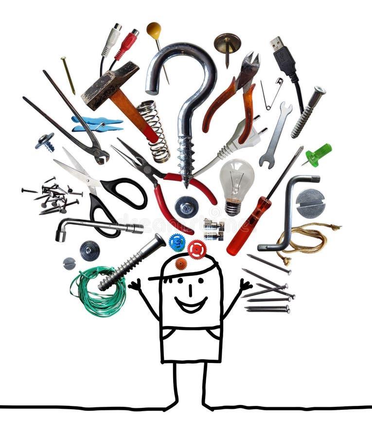 Человек мультфильма бросая вверх большой набор инструментов иллюстрация штока