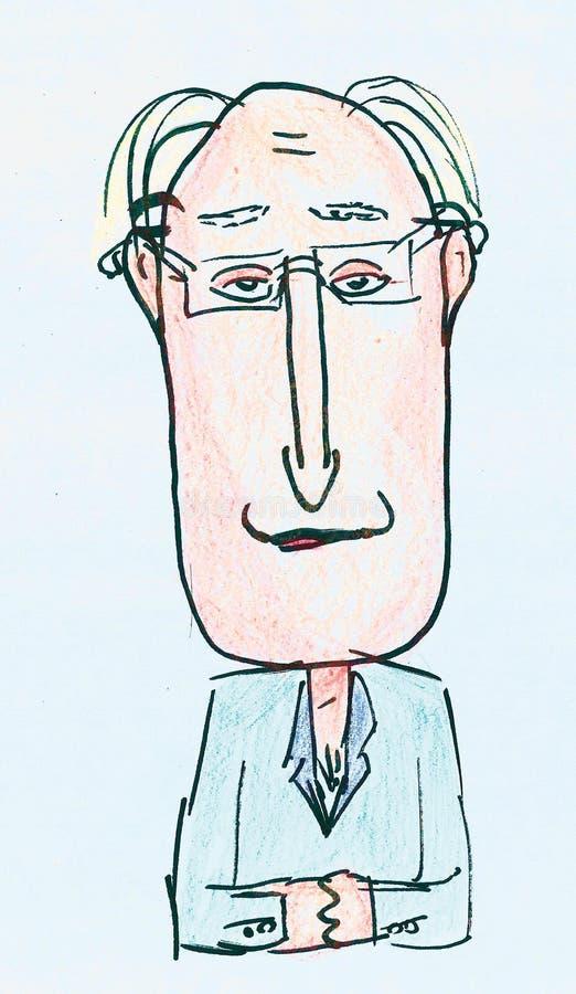 Человек мультфильма бухгалтера иллюстрация вектора