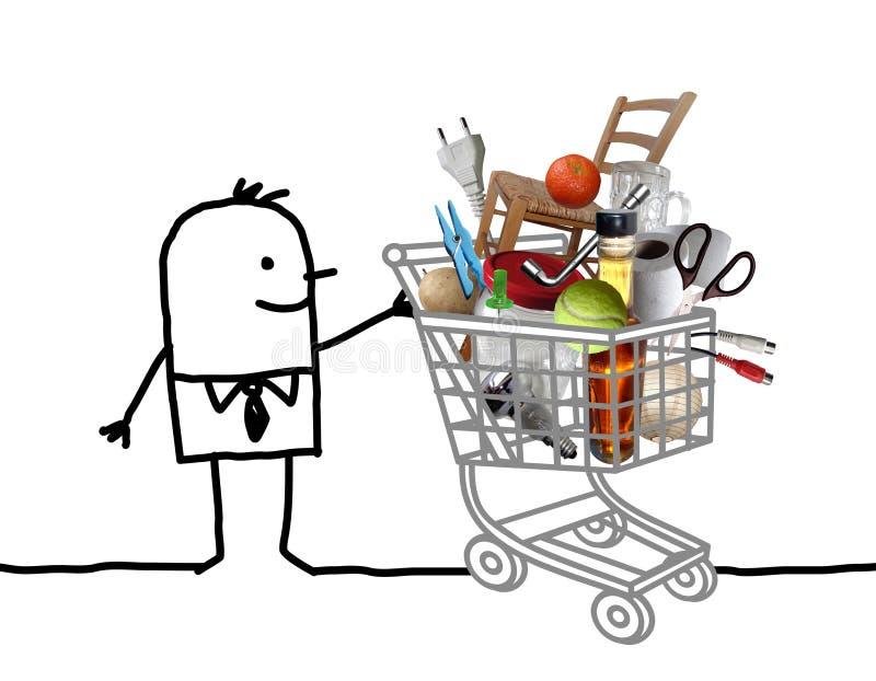 Человек мультфильма с полной корзиной иллюстрация штока