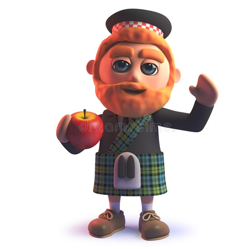 Человек мультфильма шотландский в килте есть яблоко в 3d иллюстрация вектора