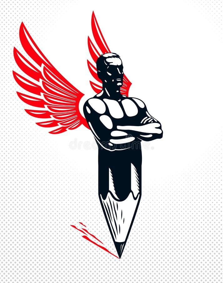 Человек мышцы сильного человека совмещенный с карандашем и крыльями в символ, сильной идеей проекта, творческим иносказанием силы бесплатная иллюстрация